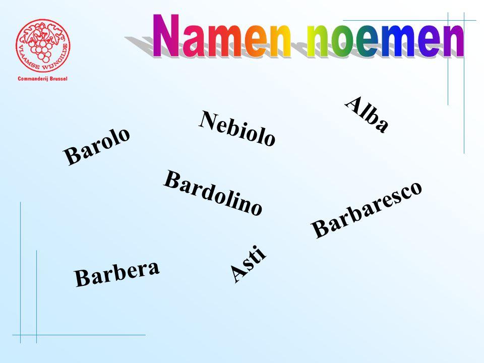 Barolo Barbera Barbaresco Bardolino Asti Alba Nebiolo