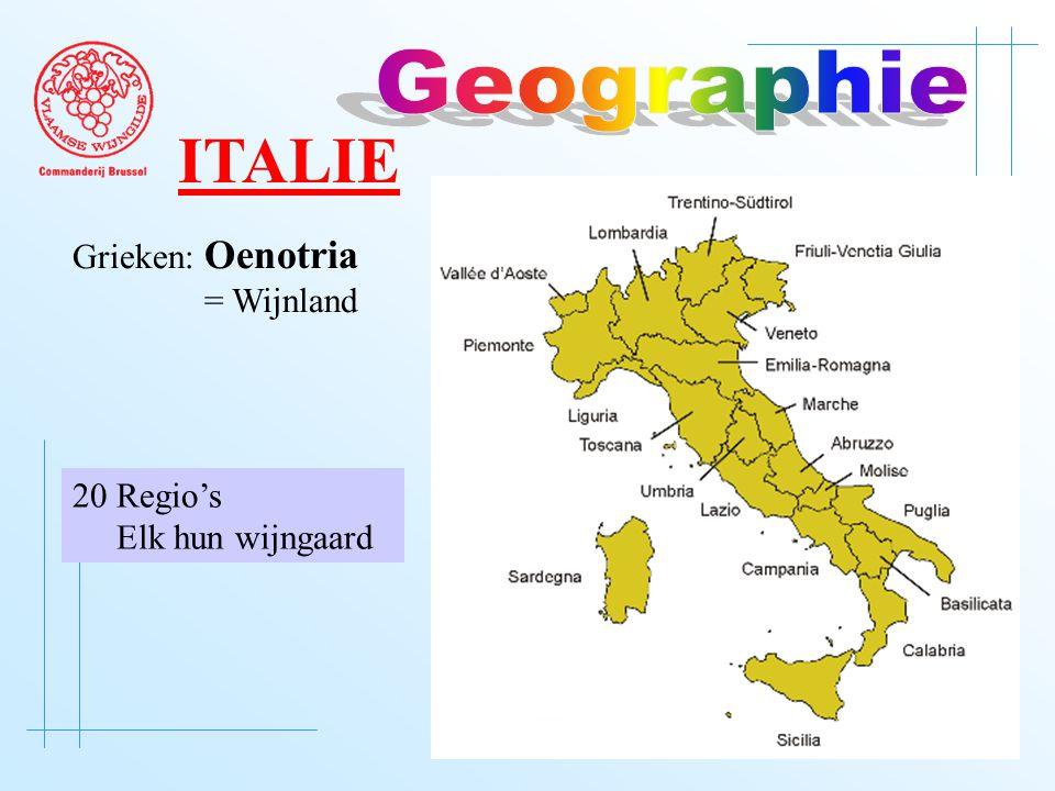 ITALIE Grieken: Oenotria = Wijnland 20 Regio's Elk hun wijngaard
