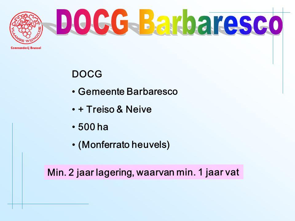 DOCG • Gemeente Barbaresco • + Treiso & Neive • 500 ha • (Monferrato heuvels) Min. 2 jaar lagering, waarvan min. 1 jaar vat