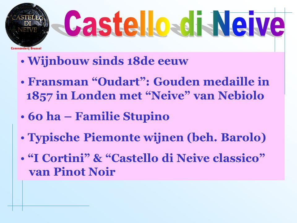 """• Wijnbouw sinds 18de eeuw • Fransman """"Oudart"""": Gouden medaille in 1857 in Londen met """"Neive"""" van Nebiolo • 60 ha – Familie Stupino • Typische Piemont"""