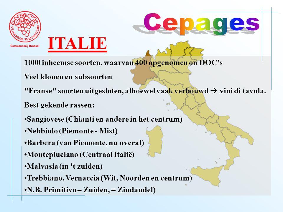 1000 inheemse soorten, waarvan 400 opgenomen on DOC s Veel klonen en subsoorten Franse soorten uitgesloten, alhoewel vaak verbouwd  vini di tavola.