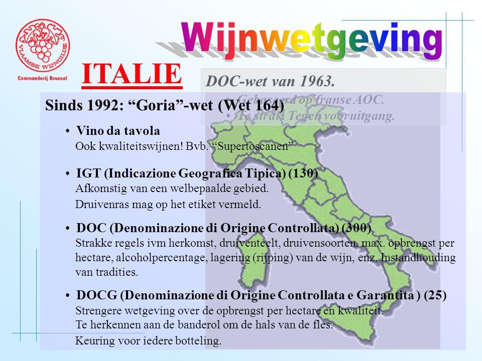 """DOC-wet van 1963. • Gebaseerd op franse AOC. • Te strak. Tegen vooruitgang. Sinds 1992: """"Goria""""-wet (Wet 164) • Vino da tavola Ook kwaliteitswijnen! B"""