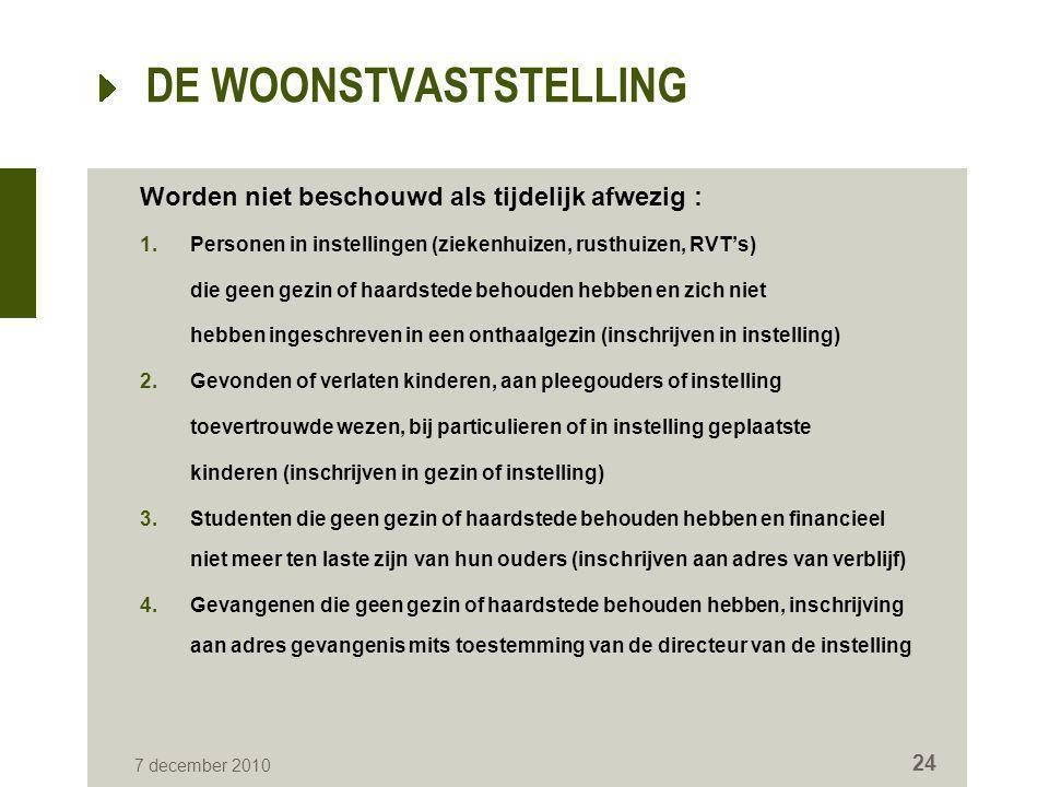 7 december 2010 24 DE WOONSTVASTSTELLING Worden niet beschouwd als tijdelijk afwezig : 1.Personen in instellingen (ziekenhuizen, rusthuizen, RVT's) di