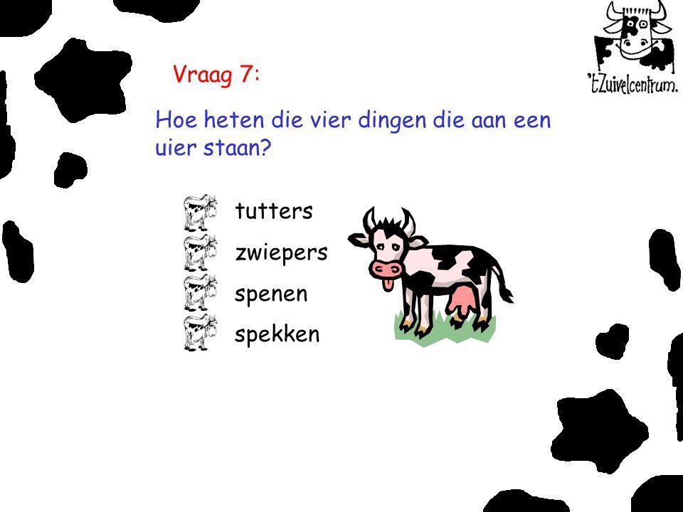Vraag 7: Hoe heten die vier dingen die aan een uier staan? tutters zwiepers spenen spekken