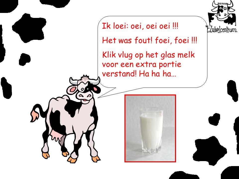 Ik loei: oei, oei oei !!! Het was fout! foei, foei !!! Klik vlug op het glas melk voor een extra portie verstand! Ha ha ha…