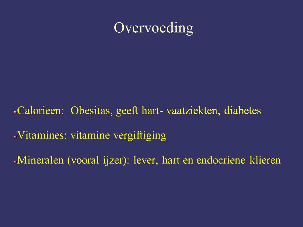 Overvoeding Calorieen: Obesitas, geeft hart- vaatziekten, diabetes Vitamines: vitamine vergiftiging Mineralen (vooral ijzer): lever, hart en endocriene klieren