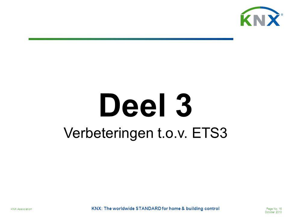 KNX Association Page No. 16 October 2010 KNX: The worldwide STANDARD for home & building control Deel 3 Verbeteringen t.o.v. ETS3