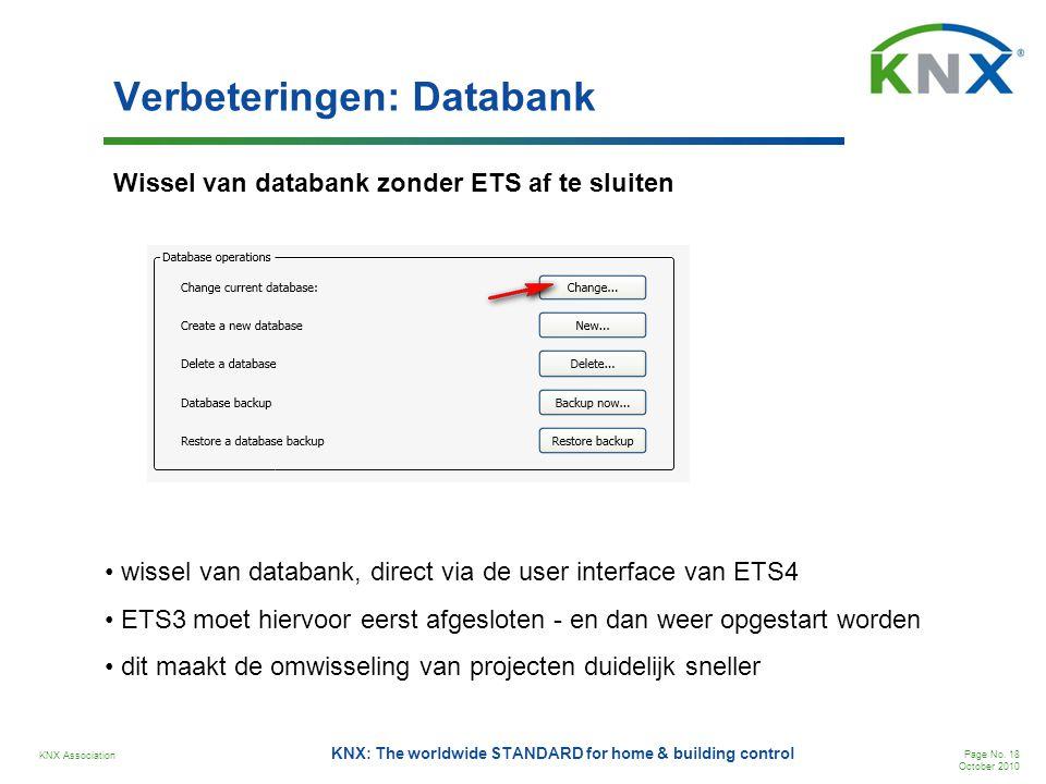 KNX Association Page No. 18 October 2010 KNX: The worldwide STANDARD for home & building control Verbeteringen: Databank Wissel van databank zonder ET