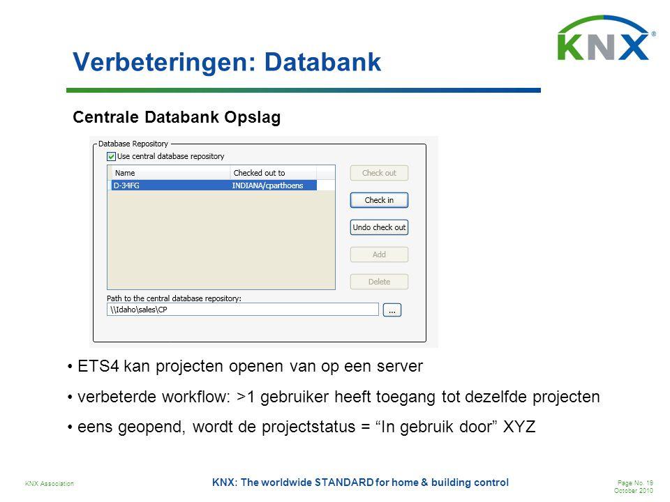 KNX Association Page No. 19 October 2010 KNX: The worldwide STANDARD for home & building control Verbeteringen: Databank Centrale Databank Opslag • ET