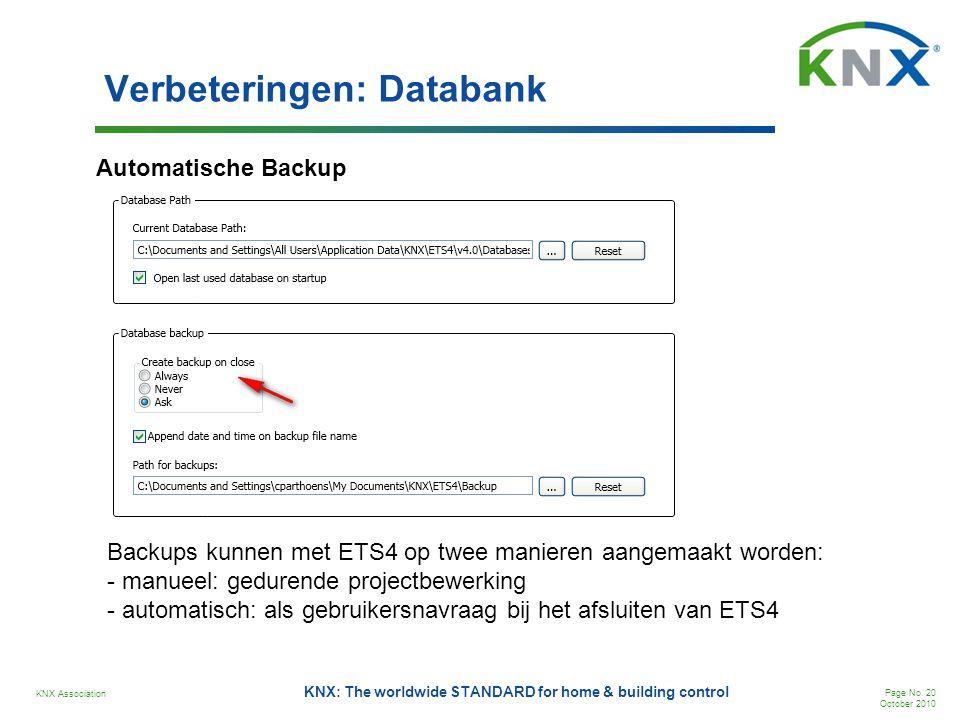 KNX Association Page No. 20 October 2010 KNX: The worldwide STANDARD for home & building control Verbeteringen: Databank Automatische Backup Backups k