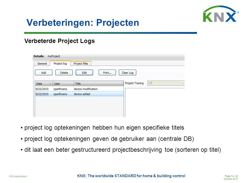 KNX Association Page No. 22 October 2010 KNX: The worldwide STANDARD for home & building control Verbeteringen: Projecten Verbeterde Project Logs • pr