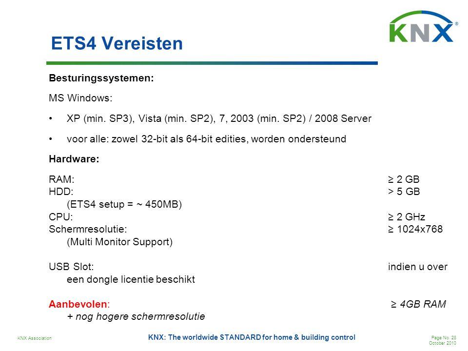 KNX Association Page No. 28 October 2010 KNX: The worldwide STANDARD for home & building control ETS4 Vereisten Besturingssystemen: MS Windows: •XP (m