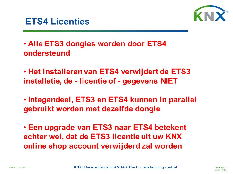KNX Association Page No. 29 October 2010 KNX: The worldwide STANDARD for home & building control ETS4 Licenties • Alle ETS3 dongles worden door ETS4 o