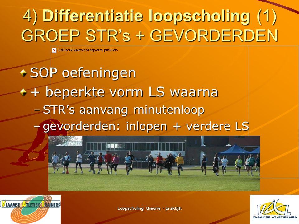 Loopscholing theorie - praktijk 3) LS binnen warming-up (2) WU: voorbereiden hoger prestatieniveau (zie doel WU) beginnen met SOP – oefeningen –Spierv