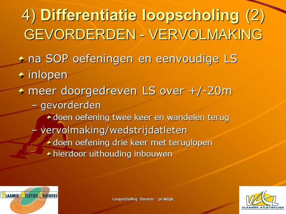 Loopscholing theorie - praktijk 4) Differentiatie loopscholing (1) GROEP STR's + GEVORDERDEN SOP oefeningen + beperkte vorm LS waarna –STR's aanvang m