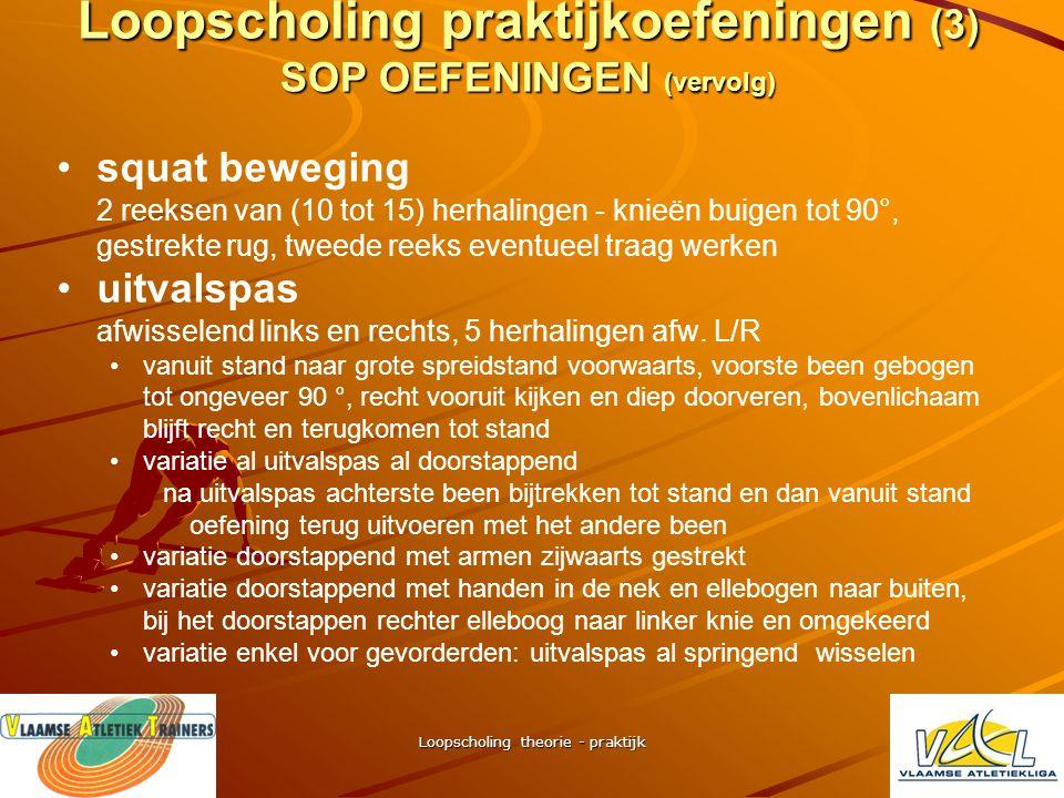 """Loopscholing theorie - praktijk Loopscholing praktijkoefeningen (2) SOP OEFENINGEN (vervolg) • •steun één been op de plaats en 30"""" evenwicht houden (e"""