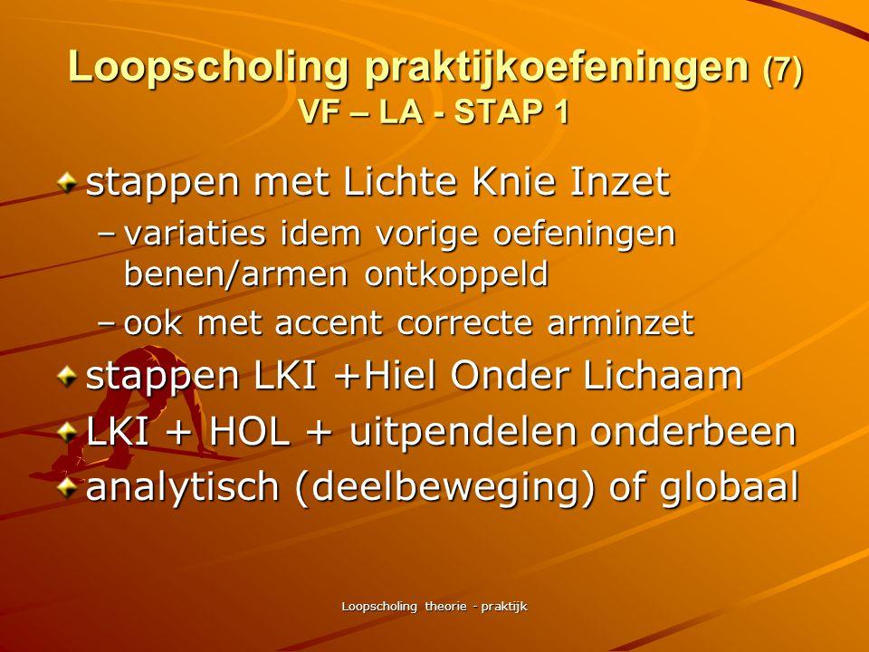 Loopscholing theorie - praktijk Loopscholing praktijkoefeningen (6) VF - LA - STAP 1 stappen benen/armen ontkoppeld –armen op de rug –naast lichaam –v