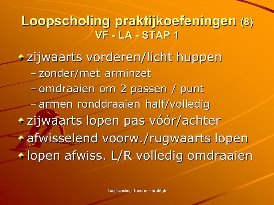 Loopscholing theorie - praktijk Loopscholing praktijkoefeningen (7) VF – LA - STAP 1 stappen met Lichte Knie Inzet –variaties idem vorige oefeningen b