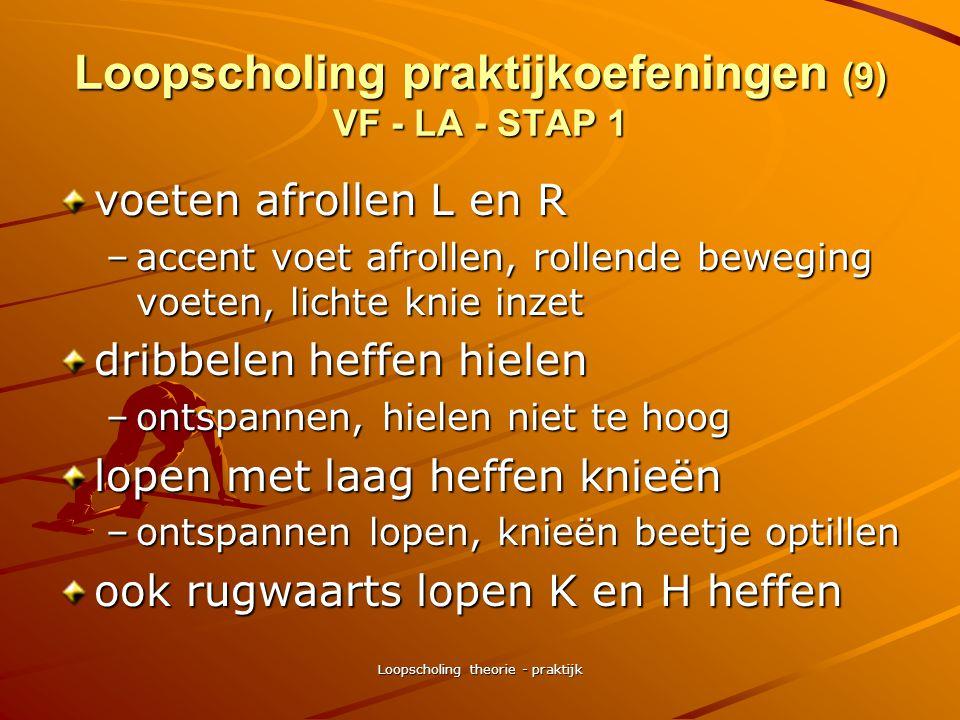 Loopscholing theorie - praktijk Loopscholing praktijkoefeningen (8) VF - LA - STAP 1 zijwaarts vorderen/licht huppen –zonder/met arminzet –omdraaien o