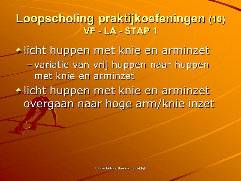 Loopscholing theorie - praktijk Loopscholing praktijkoefeningen (10) VF - LA - STAP 1 triplings met ronddraaien armen –armen rugwaarts draaien –armen