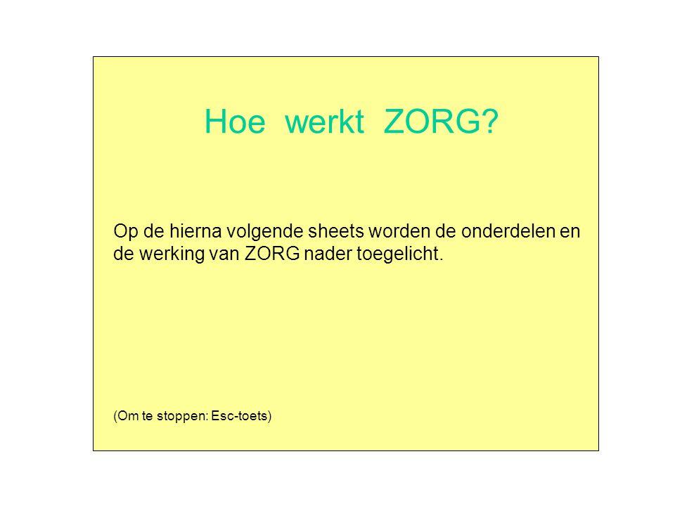 Hoe werkt ZORG? Op de hierna volgende sheets worden de onderdelen en de werking van ZORG nader toegelicht. (Om te stoppen: Esc-toets)
