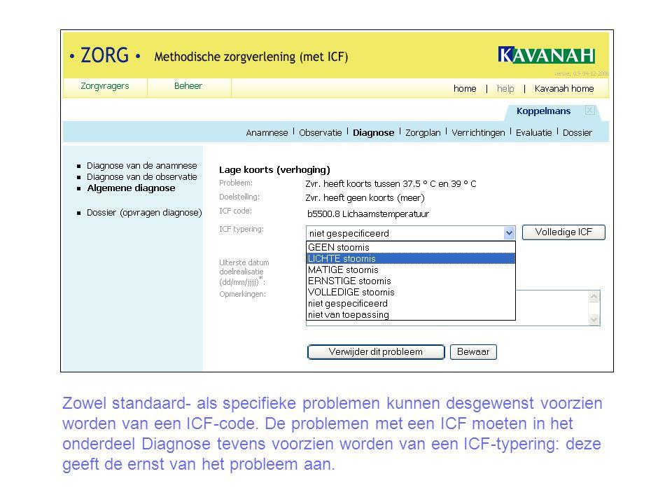 Zowel standaard- als specifieke problemen kunnen desgewenst voorzien worden van een ICF-code. De problemen met een ICF moeten in het onderdeel Diagnos