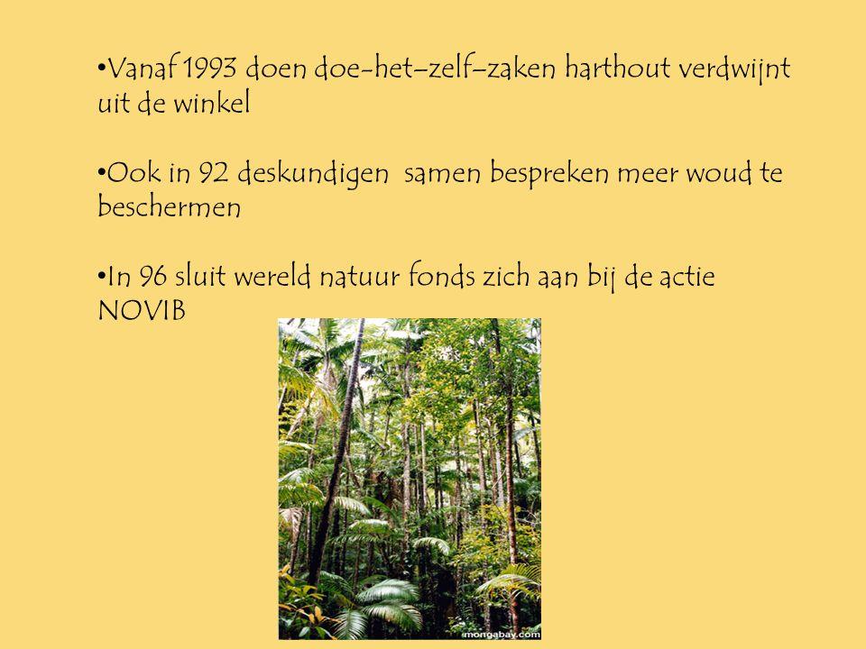 •1•1989 ocelots niet gedood worden •1•1990 Colombia geeft de helft van land aan regenwoud •I•In 1992 NOVIB actie = geen hardhout verkocht wordt