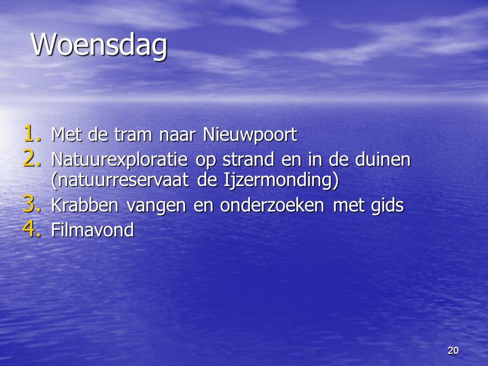 20 Woensdag 1.Met de tram naar Nieuwpoort 2.