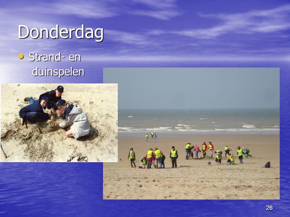 26 Donderdag • Strand- en duinspelen duinspelen