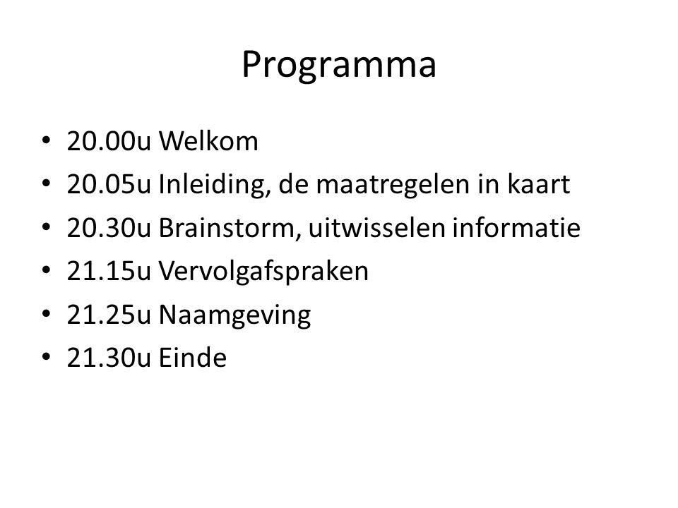 Programma • 20.00u Welkom • 20.05u Inleiding, de maatregelen in kaart • 20.30u Brainstorm, uitwisselen informatie • 21.15u Vervolgafspraken • 21.25u N
