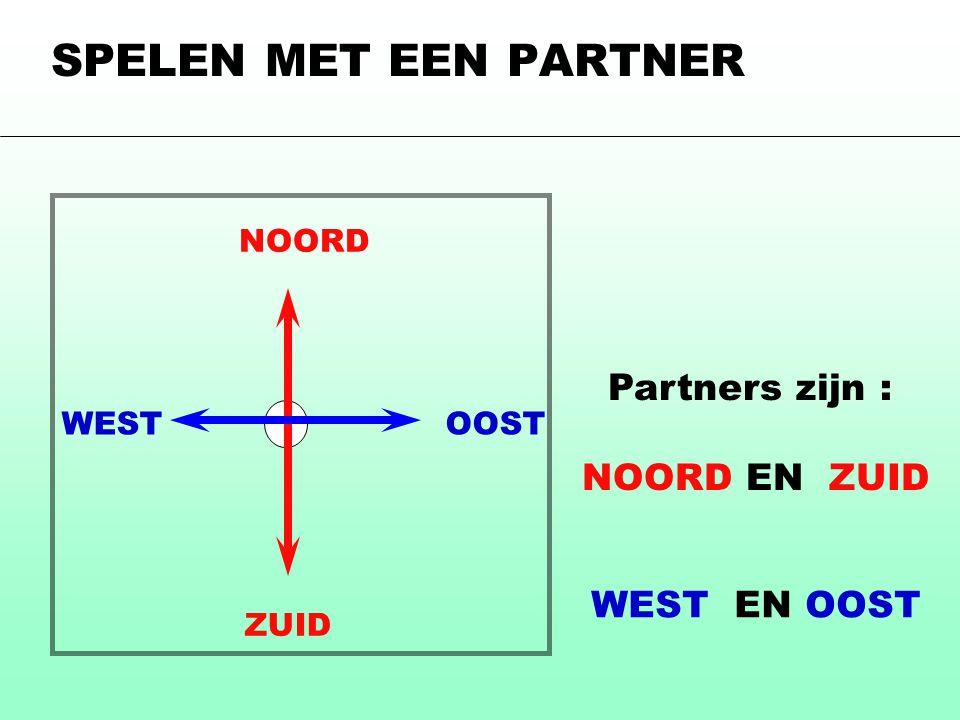 Partners zijn : NOORD EN ZUID NOORD ZUID WESTOOST WEST EN OOST SPELEN MET EEN PARTNER