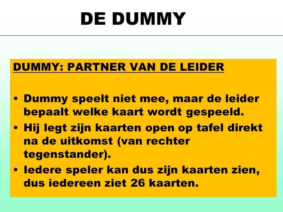 DE DUMMY DUMMY: PARTNER VAN DE LEIDER •Dummy speelt niet mee, maar de leider bepaalt welke kaart wordt gespeeld. •Hij legt zijn kaarten open op tafel