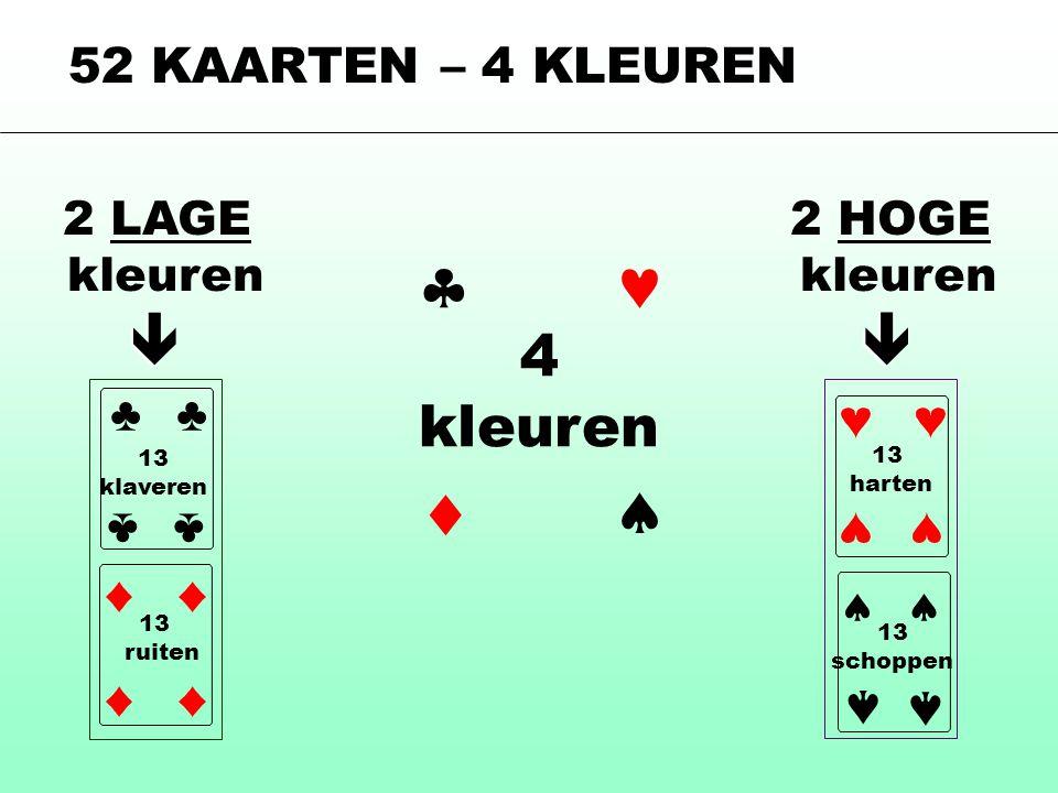 52 KAARTEN – 4 KLEUREN 4 kleuren    2 LAGE kleuren 13 ruiten ♣ ♣ 13 klaveren 13 schoppen  2 HOGE kleuren 13 harten   