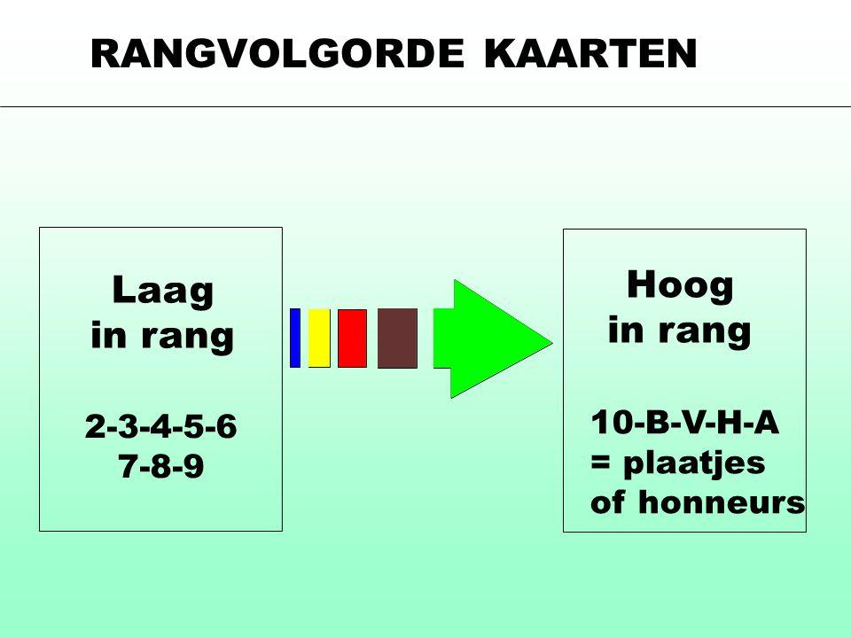 Laag in rang 2-3-4-5-6 7-8-9 Hoog in rang 10-B-V-H-A = plaatjes of honneurs RANGVOLGORDE KAARTEN