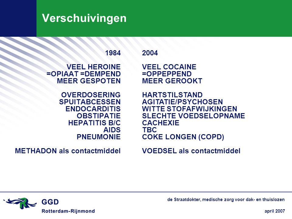 april 2007 de Straatdokter, medische zorg voor dak- en thuislozen Verschuivingen 1984 VEEL HEROINE =OPIAAT =DEMPEND MEER GESPOTEN OVERDOSERING SPUITAB