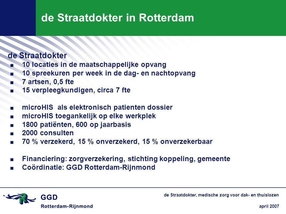 april 2007 de Straatdokter, medische zorg voor dak- en thuislozen de Straatdokter in Rotterdam de Straatdokter. 10 locaties in de maatschappelijke opv