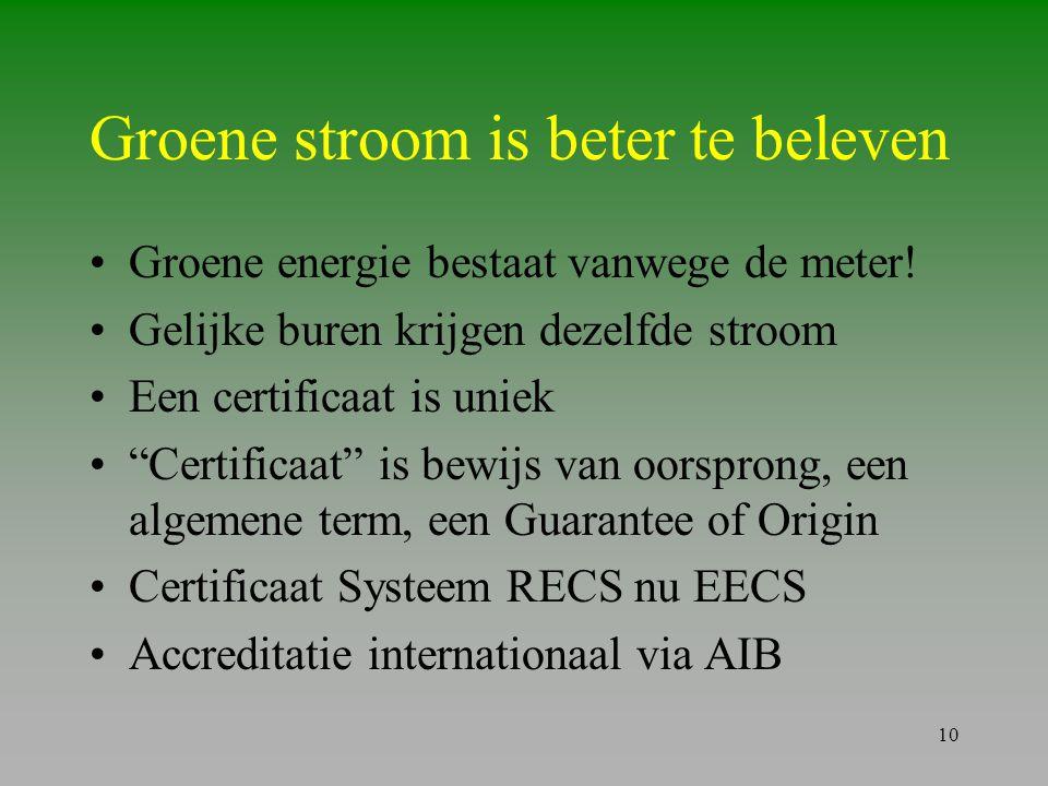 """10 Groene stroom is beter te beleven •Groene energie bestaat vanwege de meter! •Gelijke buren krijgen dezelfde stroom •Een certificaat is uniek •""""Cert"""