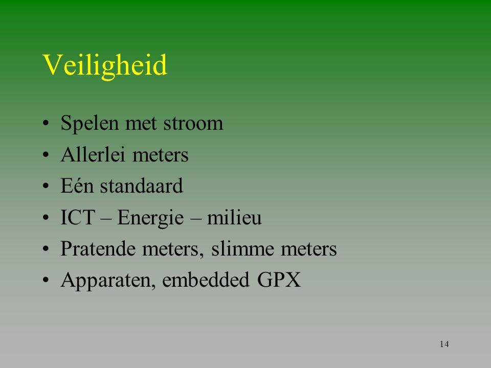14 Veiligheid •Spelen met stroom •Allerlei meters •Eén standaard •ICT – Energie – milieu •Pratende meters, slimme meters •Apparaten, embedded GPX