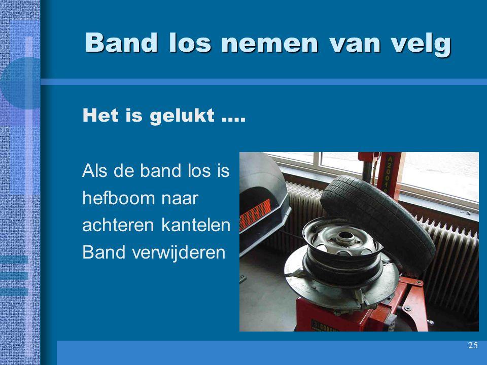 26 Band controleren Met bandenspreider hielen uiteen drukken.
