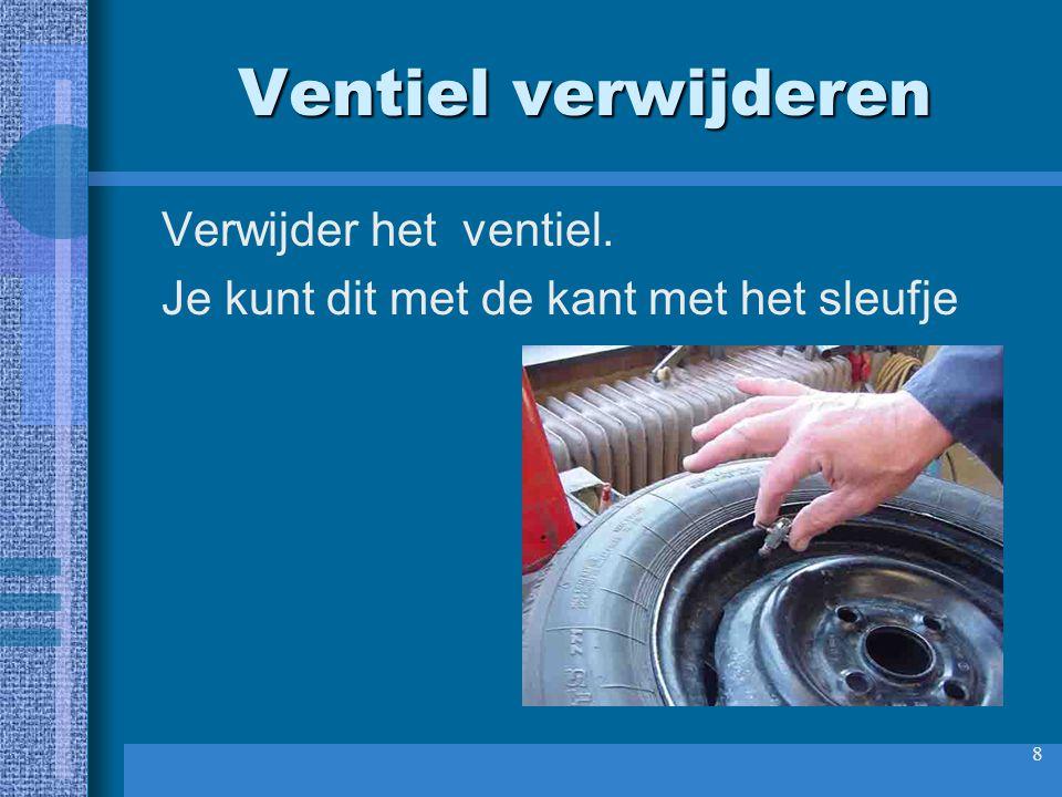 9 Onderdelen goed bewaren Het ventiel en het ventielsleuteltje goed bewaren