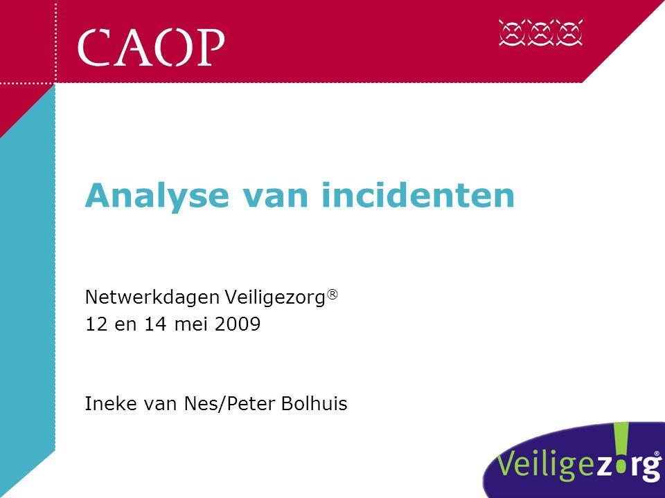 Analyse van incidenten Netwerkdagen Veiligezorg ® 12 en 14 mei 2009 Ineke van Nes/Peter Bolhuis