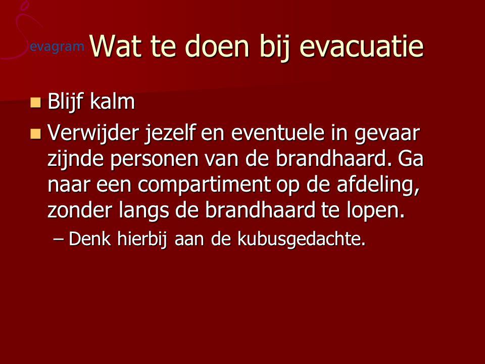 Wat te doen bij evacuatie Wat te doen bij evacuatie  Blijf kalm  Verwijder jezelf en eventuele in gevaar zijnde personen van de brandhaard.