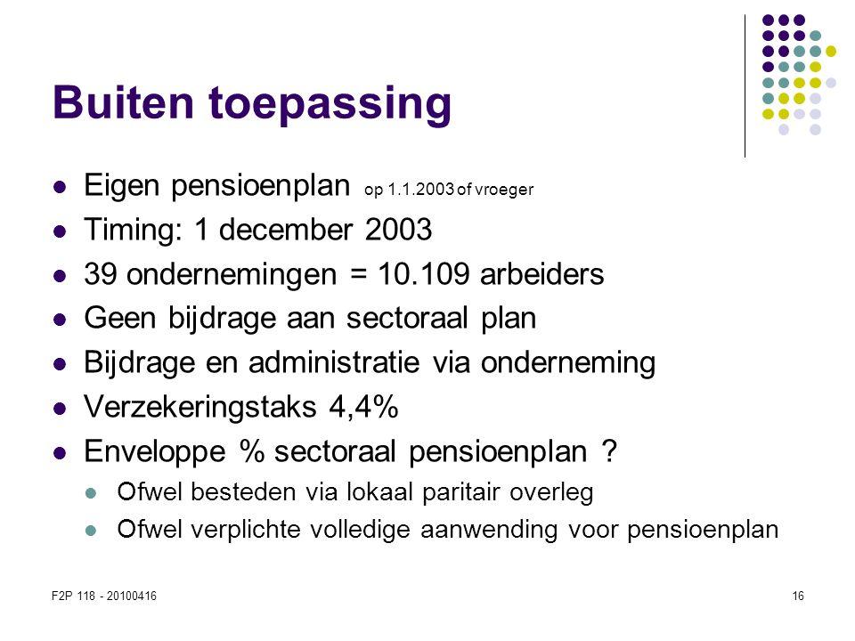 F2P 118 - 2010041616 Buiten toepassing  Eigen pensioenplan op 1.1.2003 of vroeger  Timing: 1 december 2003  39 ondernemingen = 10.109 arbeiders  G