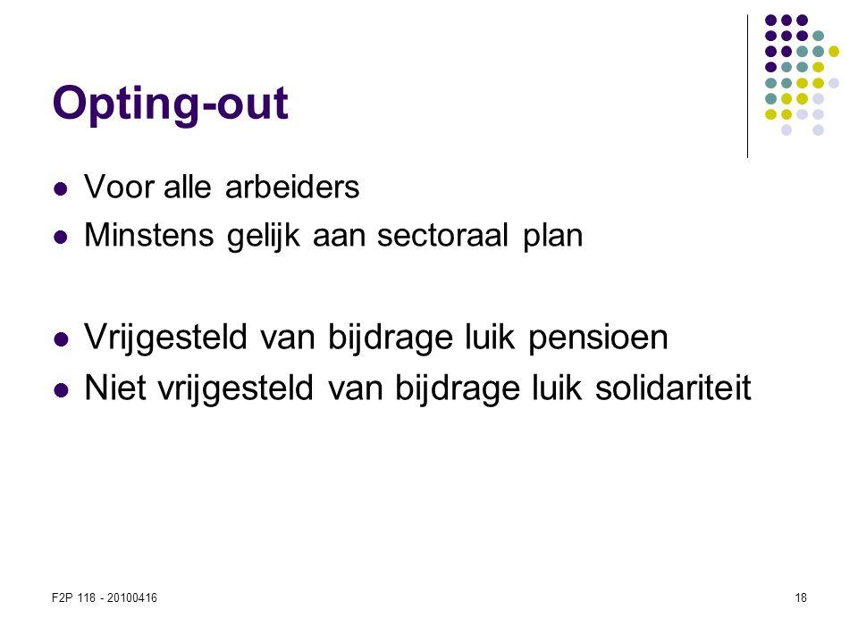 F2P 118 - 2010041618  Voor alle arbeiders  Minstens gelijk aan sectoraal plan  Vrijgesteld van bijdrage luik pensioen  Niet vrijgesteld van bijdra