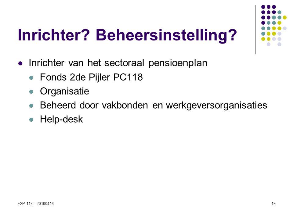 F2P 118 - 2010041619 Inrichter? Beheersinstelling?  Inrichter van het sectoraal pensioenplan  Fonds 2de Pijler PC118  Organisatie  Beheerd door va
