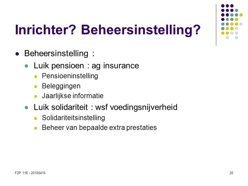 F2P 118 - 2010041620 Inrichter? Beheersinstelling?  Beheersinstelling :  Luik pensioen : ag insurance  Pensioeninstelling  Beleggingen  Jaarlijks