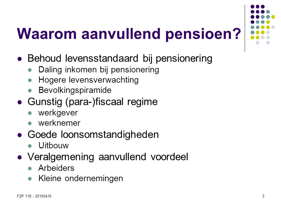 F2P 118 - 201004163 Waarom aanvullend pensioen?  Behoud levensstandaard bij pensionering  Daling inkomen bij pensionering  Hogere levensverwachting