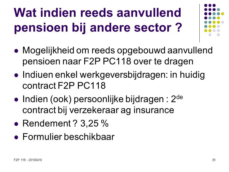 F2P 118 - 2010041639 Wat indien reeds aanvullend pensioen bij andere sector ?  Mogelijkheid om reeds opgebouwd aanvullend pensioen naar F2P PC118 ove