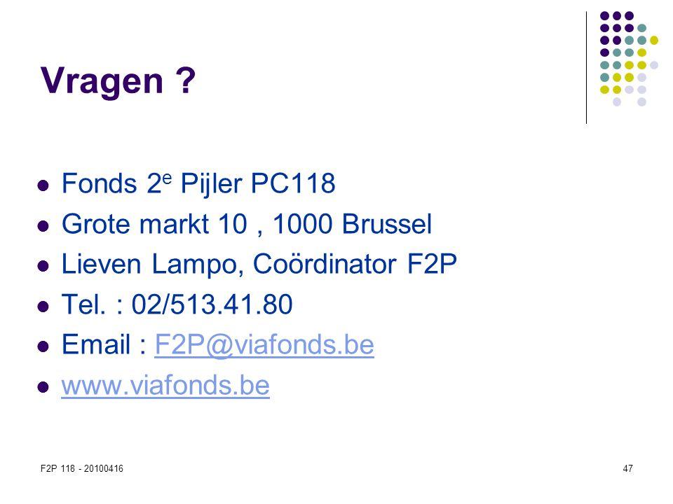 F2P 118 - 2010041647 Vragen ?  Fonds 2 e Pijler PC118  Grote markt 10, 1000 Brussel  Lieven Lampo, Coördinator F2P  Tel. : 02/513.41.80  Email :