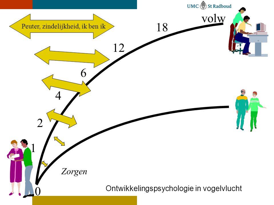 Magische kleuter, kleine zelfstandige 0 18 volw 12 6 4 2 1 Ontwikkelingspsychologie in vogelvlucht Zorgen